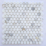 Calacatta Gold Marble Honed Penny Round Mosaic Tile - American Tile Depot - Commercial and Residential (Interior & Exterior), Indoor, Outdoor, Shower, Backsplash, Bathroom, Kitchen, Deck & Patio, Decorative, Floor, Wall, Ceiling, Powder Room - 1