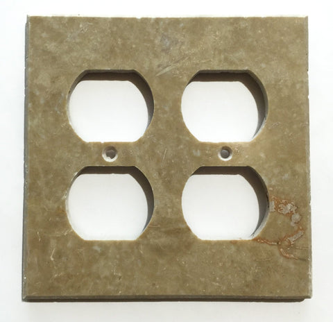 Light Walnut Travertine Double Duplex Switch Wall Plate / Switch Plate / Cover - Honed - American Tile Depot - Commercial and Residential (Interior & Exterior), Indoor, Outdoor, Shower, Backsplash, Bathroom, Kitchen, Deck & Patio, Decorative, Floor, Wall, Ceiling, Powder Room - 1