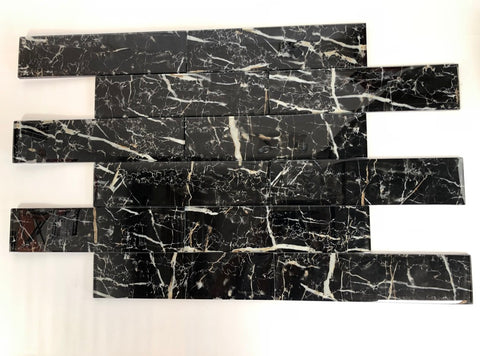 3 X 12 Black Marble Look Glass Subway Tile - American Tile Depot - Shower, Backsplash, Bathroom, Kitchen, Deck & Patio, Decorative, Floor, Wall, Ceiling, Powder Room, Indoor, Outdoor, Commercial, Residential, Interior, Exterior