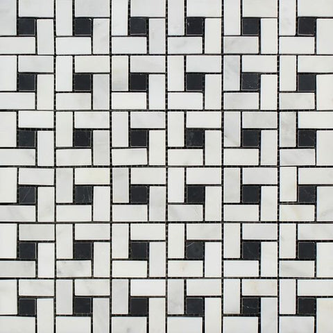 Oriental White / Asian Statuary Marble Polished Pinwheel Mosaic Tile w/ Black Dots