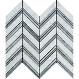 Carrara White Marble Polished Large Chevron Mosaic Tile w / Blue-Gray Strips