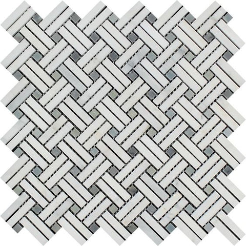 Oriental White / Asian Statuary Marble Honed Stanza Basketweave Mosaic Tile w / Blue-Gray Dots