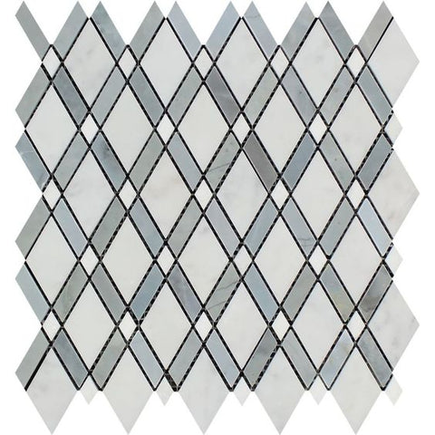 Oriental White / Asian Statuary Marble Polished Lattice Mosaic Tile w / Blue Gray Dots