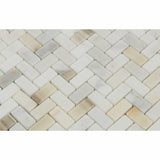 Calacatta Gold Marble Honed Mini Herringbone Mosaic Tile - American Tile Depot - Commercial and Residential (Interior & Exterior), Indoor, Outdoor, Shower, Backsplash, Bathroom, Kitchen, Deck & Patio, Decorative, Floor, Wall, Ceiling, Powder Room - 2