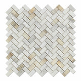 Calacatta Gold Marble Honed Mini Herringbone Mosaic Tile - American Tile Depot - Commercial and Residential (Interior & Exterior), Indoor, Outdoor, Shower, Backsplash, Bathroom, Kitchen, Deck & Patio, Decorative, Floor, Wall, Ceiling, Powder Room - 1