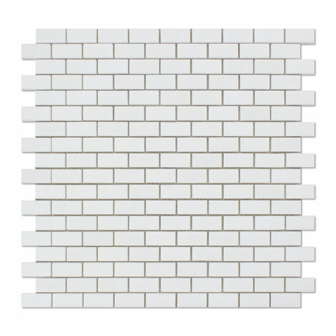 Thassos White Marble Polished Baby Brick Mosaic Tile - American Tile Depot - Commercial and Residential (Interior & Exterior), Indoor, Outdoor, Shower, Backsplash, Bathroom, Kitchen, Deck & Patio, Decorative, Floor, Wall, Ceiling, Powder Room