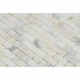 Calacatta Gold Marble Polished Baby Brick Mosaic Tile - American Tile Depot - Commercial and Residential (Interior & Exterior), Indoor, Outdoor, Shower, Backsplash, Bathroom, Kitchen, Deck & Patio, Decorative, Floor, Wall, Ceiling, Powder Room - 2