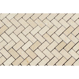 Crema Marfil Marble Polished Mini Herringbone Mosaic Tile - American Tile Depot - Commercial and Residential (Interior & Exterior), Indoor, Outdoor, Shower, Backsplash, Bathroom, Kitchen, Deck & Patio, Decorative, Floor, Wall, Ceiling, Powder Room - 2