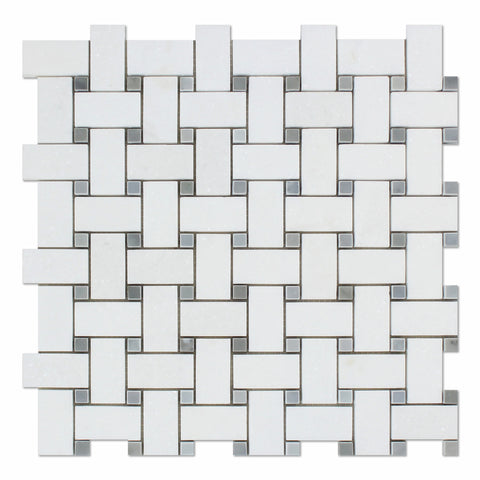 Thassos White Marble Polished Basketweave Mosaic Tile w/ Blue-Gray Dots - American Tile Depot - Commercial and Residential (Interior & Exterior), Indoor, Outdoor, Shower, Backsplash, Bathroom, Kitchen, Deck & Patio, Decorative, Floor, Wall, Ceiling, Powder Room