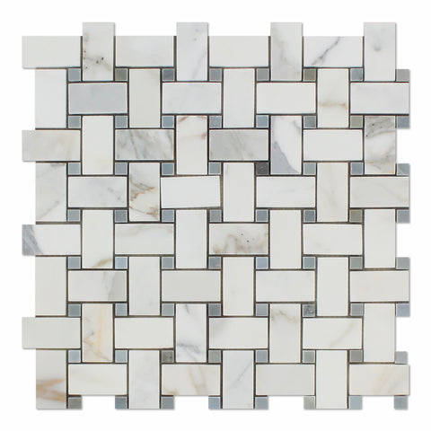 Calacatta Gold Marble Polished Basketweave Mosaic Tile w/ Blue-Gray Dots - American Tile Depot - Commercial and Residential (Interior & Exterior), Indoor, Outdoor, Shower, Backsplash, Bathroom, Kitchen, Deck & Patio, Decorative, Floor, Wall, Ceiling, Powder Room - 1