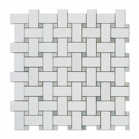 Thassos White Marble Honed Basketweave Mosaic Tile w/ Ming-Green Dots - American Tile Depot - Commercial and Residential (Interior & Exterior), Indoor, Outdoor, Shower, Backsplash, Bathroom, Kitchen, Deck & Patio, Decorative, Floor, Wall, Ceiling, Powder Room