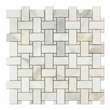Calacatta Gold Marble Polished Basketweave Mosaic Tile w/ Calacatta Gold Dots - American Tile Depot - Commercial and Residential (Interior & Exterior), Indoor, Outdoor, Shower, Backsplash, Bathroom, Kitchen, Deck & Patio, Decorative, Floor, Wall, Ceiling, Powder Room - 1