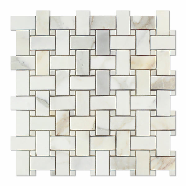 Calacatta Gold Marble Basketweave Mosaic Tile Polished W