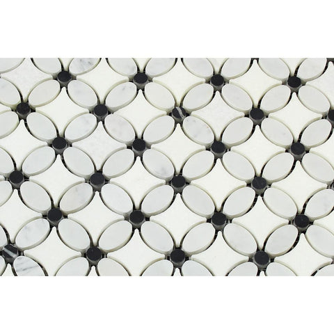 Carrara White Marble Honed Florida Flower Mosaic Tile w/Black Dots