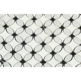 Carrara White Marble Polished Florida Flower Mosaic Tile w/Black Dots