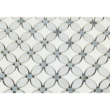 Carrara White Marble Polished Florida Flower Mosaic Tile w/Blue Gray Dots