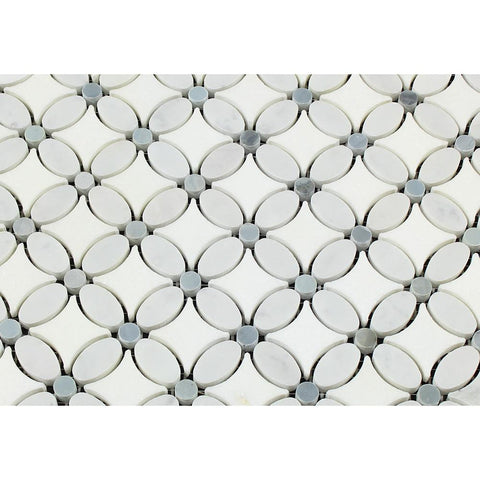 Carrara White Marble Honed Florida Flower Mosaic Tile w/Blue Gray Dots