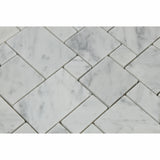 Carrara White Marble Polished Mini Versailles Mosaic Tile - American Tile Depot - Commercial and Residential (Interior & Exterior), Indoor, Outdoor, Shower, Backsplash, Bathroom, Kitchen, Deck & Patio, Decorative, Floor, Wall, Ceiling, Powder Room - 2