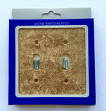 Dark Walnut Travertine Double Toggle Switch Wall Plate / Switch Plate / Cover - Honed - American Tile Depot - Commercial and Residential (Interior & Exterior), Indoor, Outdoor, Shower, Backsplash, Bathroom, Kitchen, Deck & Patio, Decorative, Floor, Wall, Ceiling, Powder Room - 2