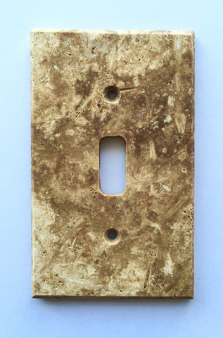 Dark Walnut Travertine Single Toggle Switch Wall Plate / Switch Plate / Cover - Honed - American Tile Depot - Commercial and Residential (Interior & Exterior), Indoor, Outdoor, Shower, Backsplash, Bathroom, Kitchen, Deck & Patio, Decorative, Floor, Wall, Ceiling, Powder Room - 1