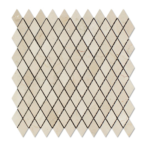 "Crema Marfil Marble Polished 1"" Diamond Mosaic Tile - American Tile Depot - Commercial and Residential (Interior & Exterior), Indoor, Outdoor, Shower, Backsplash, Bathroom, Kitchen, Deck & Patio, Decorative, Floor, Wall, Ceiling, Powder Room - 1"