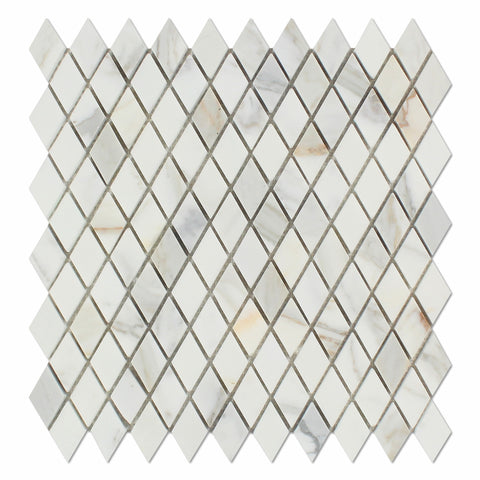 "Calacatta Gold Marble Honed 1"" Diamond Mosaic Tile - American Tile Depot - Commercial and Residential (Interior & Exterior), Indoor, Outdoor, Shower, Backsplash, Bathroom, Kitchen, Deck & Patio, Decorative, Floor, Wall, Ceiling, Powder Room - 1"
