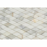 "Calacatta Gold Marble Honed 1"" Diamond Mosaic Tile - American Tile Depot - Commercial and Residential (Interior & Exterior), Indoor, Outdoor, Shower, Backsplash, Bathroom, Kitchen, Deck & Patio, Decorative, Floor, Wall, Ceiling, Powder Room - 2"