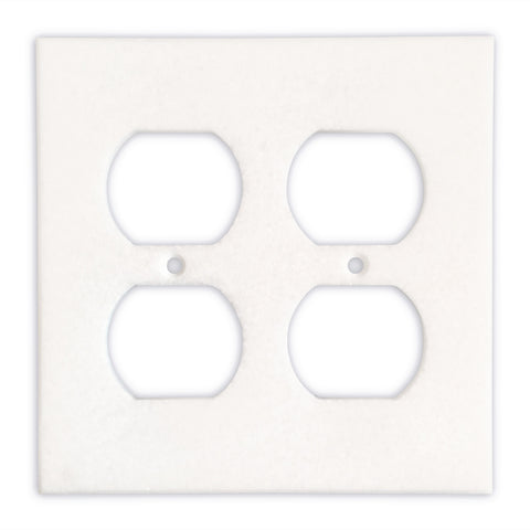 Thassos White Marble Double Duplex Switch Wall Plate / Switch Plate-Honed