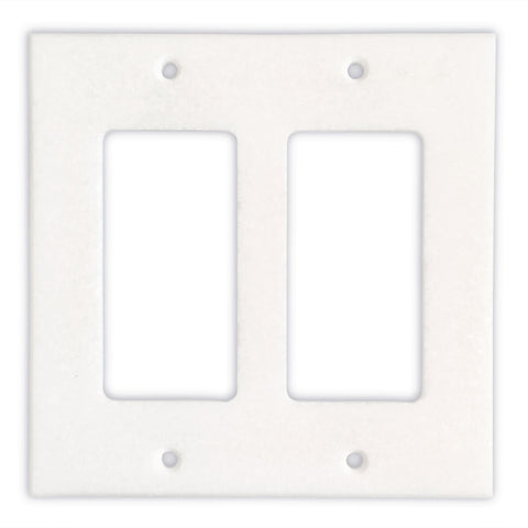 Thassos White Marble Double Rocker Switch Wall Plate / Switch Plate-Polished