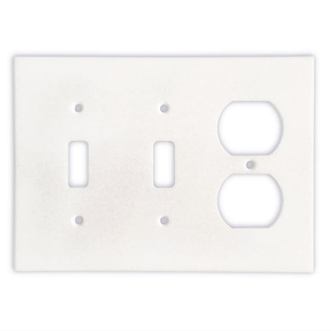 Thassos White Marble Double Toggle Duplex Switch Wall Plate / Switch Plate-Honed