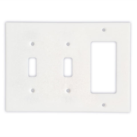 Thassos White Marble Double Toggle Rocker Switch Wall Plate / Switch Plate-Honed