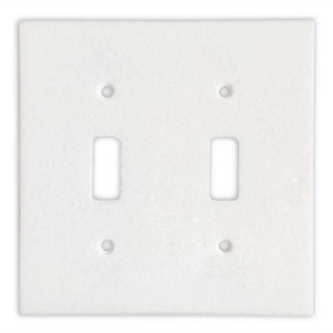 Thassos White Marble Double Toggle Switch Wall Plate / Switch Plate-Polished