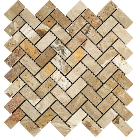 Valencia Travertine Tumbled 1 X 2 Herringbone Mosaic Tile