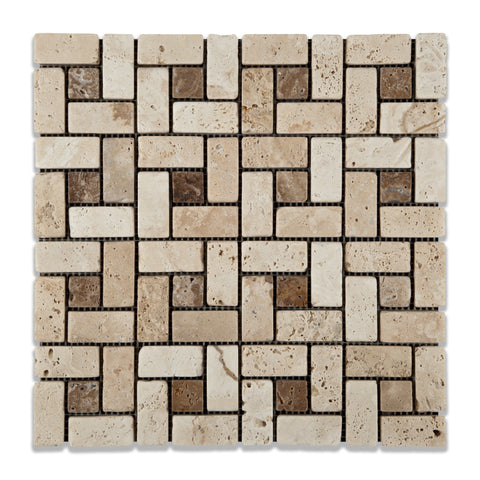 Ivory Travertine Tumbled Pinwheel Mosaic Tile w/ Noce Dots - American Tile Depot - Commercial and Residential (Interior & Exterior), Indoor, Outdoor, Shower, Backsplash, Bathroom, Kitchen, Deck & Patio, Decorative, Floor, Wall, Ceiling, Powder Room - 1