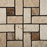 Ivory Travertine Tumbled Pinwheel Mosaic Tile w/ Noce Dots - American Tile Depot - Commercial and Residential (Interior & Exterior), Indoor, Outdoor, Shower, Backsplash, Bathroom, Kitchen, Deck & Patio, Decorative, Floor, Wall, Ceiling, Powder Room - 2