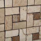 Ivory Travertine Tumbled Pinwheel Mosaic Tile w/ Noce Dots - American Tile Depot - Commercial and Residential (Interior & Exterior), Indoor, Outdoor, Shower, Backsplash, Bathroom, Kitchen, Deck & Patio, Decorative, Floor, Wall, Ceiling, Powder Room - 3
