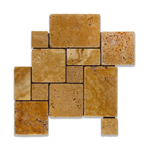 Gold / Yellow Travertine 4-Pieced OPUS Mini-Pattern Tumbled Mosaic Tile - American Tile Depot - Commercial and Residential (Interior & Exterior), Indoor, Outdoor, Shower, Backsplash, Bathroom, Kitchen, Deck & Patio, Decorative, Floor, Wall, Ceiling, Powder Room - 1