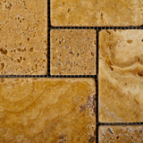 Gold / Yellow Travertine 4-Pieced OPUS Mini-Pattern Tumbled Mosaic Tile - American Tile Depot - Commercial and Residential (Interior & Exterior), Indoor, Outdoor, Shower, Backsplash, Bathroom, Kitchen, Deck & Patio, Decorative, Floor, Wall, Ceiling, Powder Room - 2