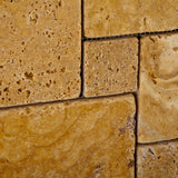 Gold / Yellow Travertine 4-Pieced OPUS Mini-Pattern Tumbled Mosaic Tile - American Tile Depot - Commercial and Residential (Interior & Exterior), Indoor, Outdoor, Shower, Backsplash, Bathroom, Kitchen, Deck & Patio, Decorative, Floor, Wall, Ceiling, Powder Room - 3