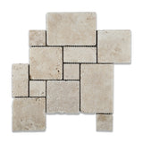 Ivory Travertine 4-Pieced OPUS Mini-Pattern Tumbled Mosaic Tile - American Tile Depot - Commercial and Residential (Interior & Exterior), Indoor, Outdoor, Shower, Backsplash, Bathroom, Kitchen, Deck & Patio, Decorative, Floor, Wall, Ceiling, Powder Room - 1
