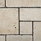 Ivory Travertine 4-Pieced OPUS Mini-Pattern Tumbled Mosaic Tile - American Tile Depot - Commercial and Residential (Interior & Exterior), Indoor, Outdoor, Shower, Backsplash, Bathroom, Kitchen, Deck & Patio, Decorative, Floor, Wall, Ceiling, Powder Room - 3