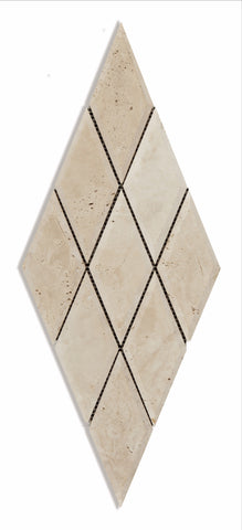 3 X 6 Ivory Travertine Diamond / Rhomboid Honed & Beveled Mosaic Tile - American Tile Depot - Shower, Backsplash, Bathroom, Kitchen, Deck & Patio, Decorative, Floor, Wall, Ceiling, Powder Room, Indoor, Outdoor, Commercial, Residential, Interior, Exterior