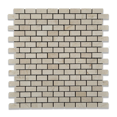 Crema Marfil Marble Polished Baby Brick Mosaic Tile - American Tile Depot - Commercial and Residential (Interior & Exterior), Indoor, Outdoor, Shower, Backsplash, Bathroom, Kitchen, Deck & Patio, Decorative, Floor, Wall, Ceiling, Powder Room - 1