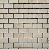 Crema Marfil Marble Polished Baby Brick Mosaic Tile - American Tile Depot - Commercial and Residential (Interior & Exterior), Indoor, Outdoor, Shower, Backsplash, Bathroom, Kitchen, Deck & Patio, Decorative, Floor, Wall, Ceiling, Powder Room - 2