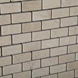 Crema Marfil Marble Polished Baby Brick Mosaic Tile - American Tile Depot - Commercial and Residential (Interior & Exterior), Indoor, Outdoor, Shower, Backsplash, Bathroom, Kitchen, Deck & Patio, Decorative, Floor, Wall, Ceiling, Powder Room - 3