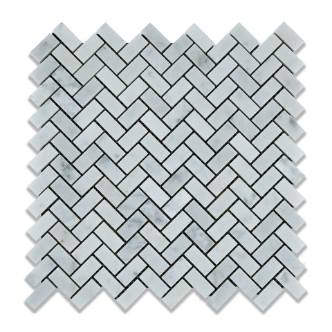 Carrara White Marble Polished Mini Herringbone Mosaic Tile - American Tile Depot - Commercial and Residential (Interior & Exterior), Indoor, Outdoor, Shower, Backsplash, Bathroom, Kitchen, Deck & Patio, Decorative, Floor, Wall, Ceiling, Powder Room - 1