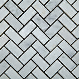 Carrara White Marble Polished Mini Herringbone Mosaic Tile - American Tile Depot - Commercial and Residential (Interior & Exterior), Indoor, Outdoor, Shower, Backsplash, Bathroom, Kitchen, Deck & Patio, Decorative, Floor, Wall, Ceiling, Powder Room - 2