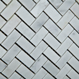 Carrara White Marble Polished Mini Herringbone Mosaic Tile - American Tile Depot - Commercial and Residential (Interior & Exterior), Indoor, Outdoor, Shower, Backsplash, Bathroom, Kitchen, Deck & Patio, Decorative, Floor, Wall, Ceiling, Powder Room - 3