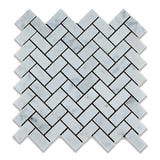 Carrara White Marble Polished 1 x 2 Herringbone Mosaic Tile - American Tile Depot - Commercial and Residential (Interior & Exterior), Indoor, Outdoor, Shower, Backsplash, Bathroom, Kitchen, Deck & Patio, Decorative, Floor, Wall, Ceiling, Powder Room - 1