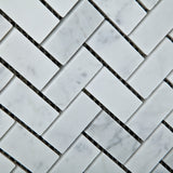 Carrara White Marble Polished 1 x 2 Herringbone Mosaic Tile - American Tile Depot - Commercial and Residential (Interior & Exterior), Indoor, Outdoor, Shower, Backsplash, Bathroom, Kitchen, Deck & Patio, Decorative, Floor, Wall, Ceiling, Powder Room - 3